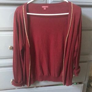 Maroon cardigan with gold details
